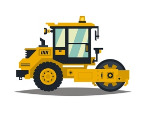 A large set of construction equipment in yellow. Special machines for the building work. Forklifts, cranes, excavators, tractors, bulldozers, trucks, cars, concrete mixer, trailer. Vector illustration. concept: Small Construction Equipment: soil compactor