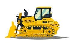 A large set of construction equipment in yellow. Special machines for the building work. Forklifts, cranes, excavators, tractors, bulldozers, trucks, cars, concrete mixer, trailer. Vector illustration. conecpt: Small Construction Equipment: bulldozer