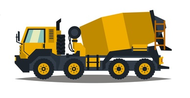 A large set of construction equipment in yellow. Special machines for the building work. Forklifts, cranes, excavators, tractors, bulldozers, trucks, cars, concrete mixer, trailer. Vector illustration. concept: Small Construction Equipment: concrete mixer