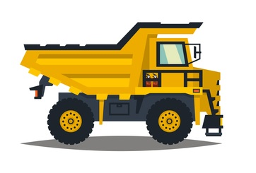 A large set of construction equipment in yellow. Special machines for the building work. Forklifts, cranes, excavators, tractors, bulldozers, trucks, cars, concrete mixer, trailer. Vector illustration. concept: Small Construction Equipment: dump truck