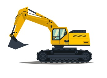 A large set of construction equipment in yellow. Special machines for the building work. Forklifts, cranes, excavators, tractors, bulldozers, trucks, cars, concrete mixer, trailer. Vector illustration. concept: Small Construction Equipment: excavator