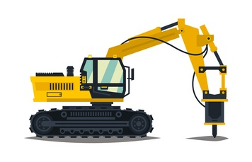 A large set of construction equipment in yellow. Special machines for the building work. Forklifts, cranes, excavators, tractors, bulldozers, trucks, cars, concrete mixer, trailer. Vector illustration. concept: Small Construction Equipment: hydraulic hammer