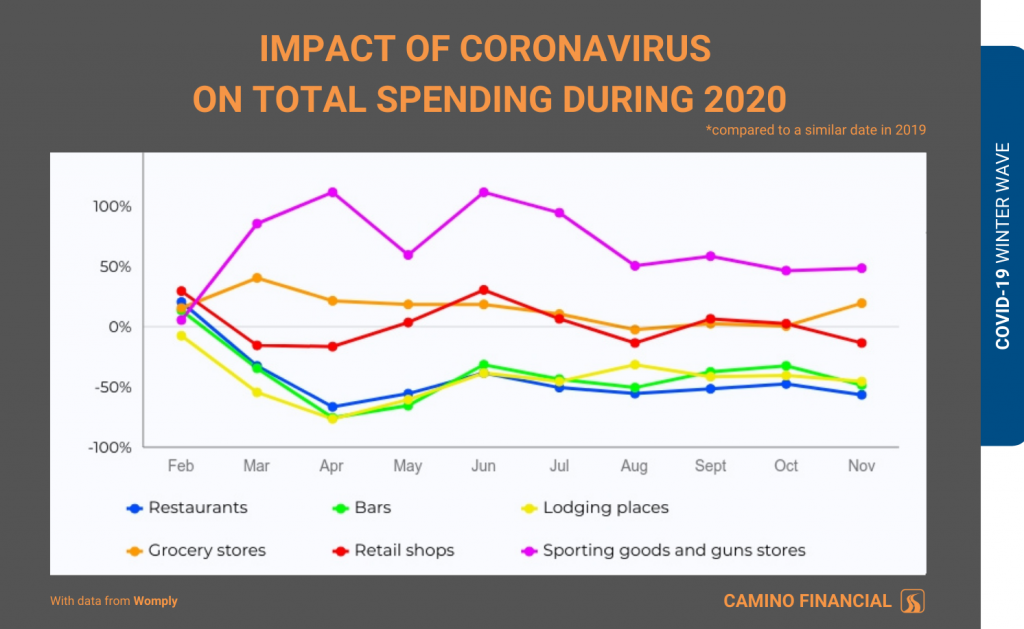 winter wave, covid spending, infographic, camino financial