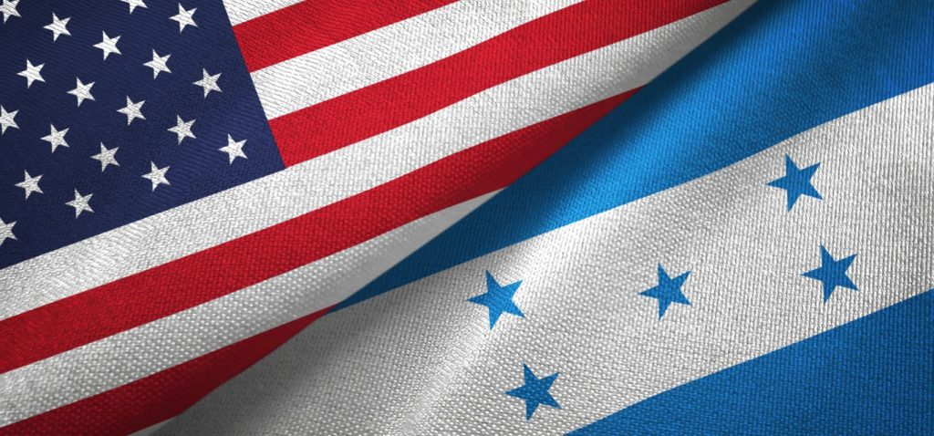 Honduras and United States flags together textile cloth, fabric texture. concept: construction success story