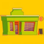 Restaurante, tienda, caricatura, vector, ilustracion. concepto: comprar o rentar