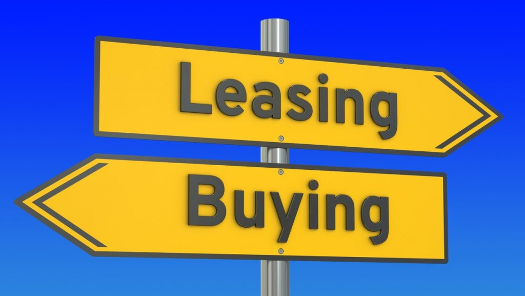 leasing or buying concept on the road signpost, 3D rendering. concept: commercial space, rent or buy