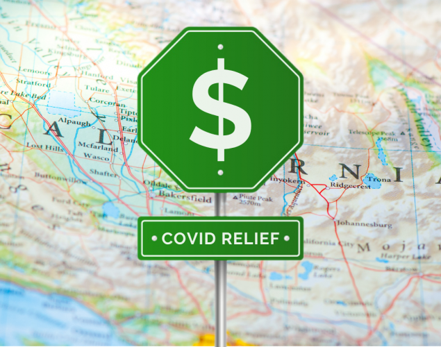 map of caliornia, signpost, money, covid relief. concept: relief programs, california