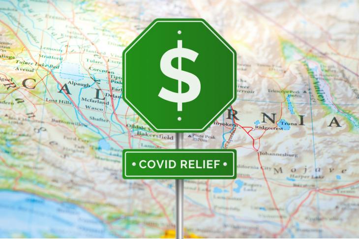 map of caliornia, signpost, money, covid relief. concept: relief programs, california