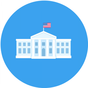 White House in Washington DC, official residence of the president of the United States. Flat vector illustration, simple cartoon style clip art. concept: biden policies