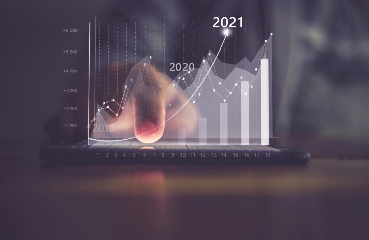 Augmented reality (AR) financial charts showing growing revenue In 2021 floating above digital screen smart phone, businesswoman having meeting about strategy for growth and success. concept: business trends