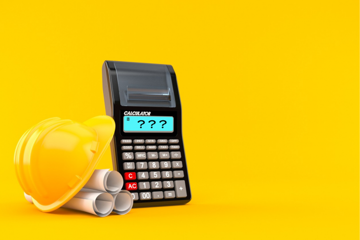 Calculator with blueprints isolated on orange background. 3d illustration. concept: construction calculator