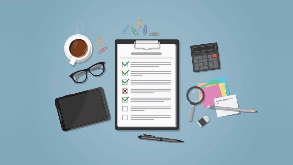 Flat realistic business checklist on workplace with green and red marks. Workspace with distributed office objects on it. Coffee cup, tablet, glasses with calculator, magnifier and paper notes. concept: Tax filing