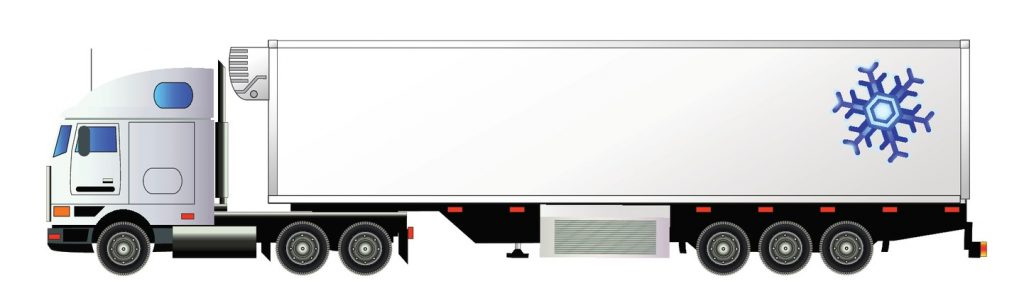 Vector set of semi-trailer trucks. Detailed, side view, icons. Isolated on white. Flat style. concept: types of trailers