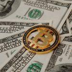 moneda dorada bitcoin sobre billetes, dólares. concept: comprar bitcoin